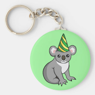 Cute Birthday Koala in Party Hat Drawing Keyring Basic Round Button Key Ring