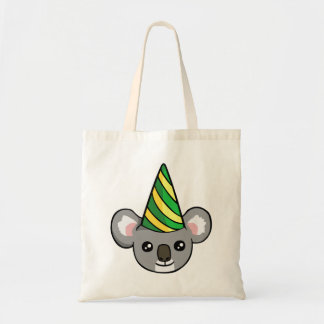 Cute Birthday Koala in Party Hat Drawing Tote Bag