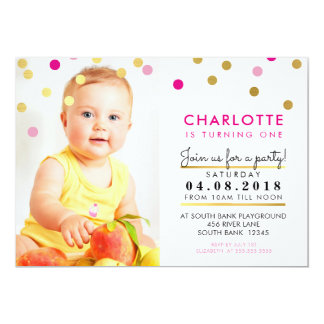 CUTE birthday party INVITE pink gold spot girl