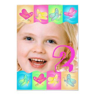 Cute birthday photo invitation with vibrant colors