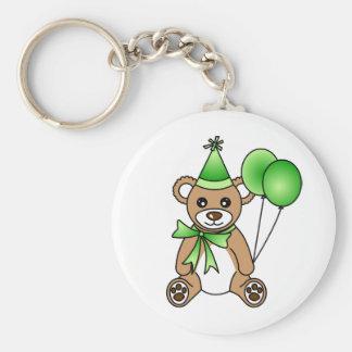 Cute Birthday Teddy Bear - Green Basic Round Button Key Ring