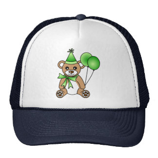 Cute Birthday Teddy Bear - Green Mesh Hat