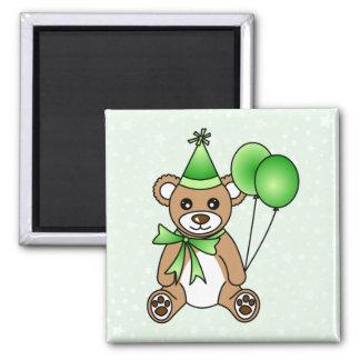 Cute Birthday Teddy Bear - Green Square Magnet