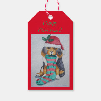 cute black and brown puppy with christmas stocking gift tags