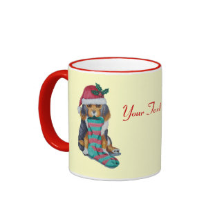 cute black and brown puppy with christmas stocking mugs