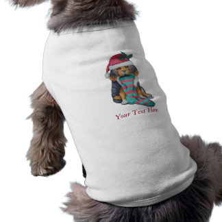 cute black and brown puppy with christmas stocking shirt