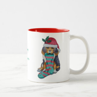 cute black and brown puppy with christmas stocking Two-Tone mug