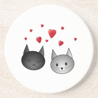 Cute Black and Gray Cats, with Hearts. Beverage Coasters
