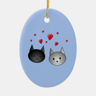 Cute Black and Gray Cats, with Hearts. Ceramic Oval Decoration