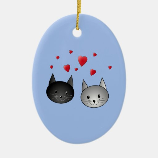 Cute Black and Gray Cats, with Hearts. Christmas Ornament