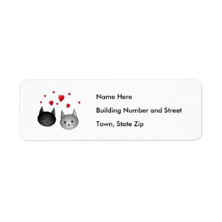 Cute Black and Gray Cats, with Hearts. Return Address Label
