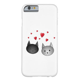 Cute Black and Grey Cats, with Hearts. Barely There iPhone 6 Case