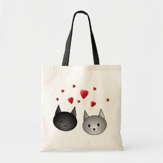 Cute Black and Grey Cats, with Hearts. Budget Tote Bag