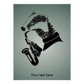Cute Black and White Badger Sax Customizable Poster
