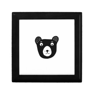 Cute black and white bear illustration gift box