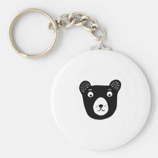 Cute black and white bear illustration key ring