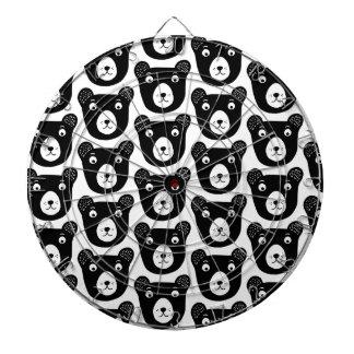 Cute black and white bear illustration pattern dartboard