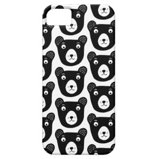 Cute black and white bear illustration pattern iPhone 5 cover