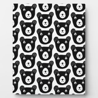 Cute black and white bear illustration pattern plaque