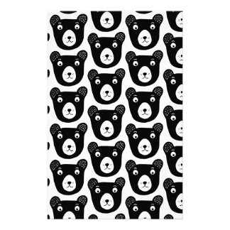 Cute black and white bear illustration pattern stationery