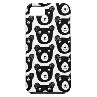 Cute black and white bear illustration pattern tough iPhone 5 case