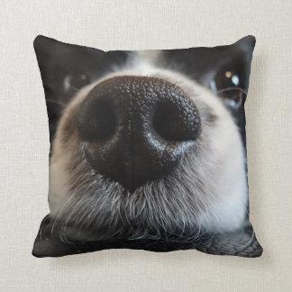 Cute Black and White Border Collie Nose Closeup Cushion