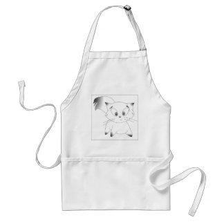 Cute black and white cartoon cat design apron