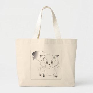 Cute black and white cartoon cat design jumbo tote bag