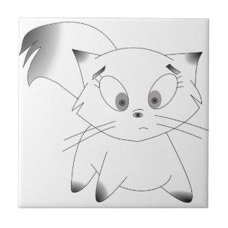Cute black and white cartoon cat design small square tile