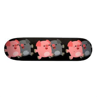 Cute Black and White Cartoon Pigs Skate Board