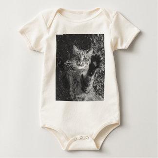 Cute Black and White Cat Hug Baby Bodysuits