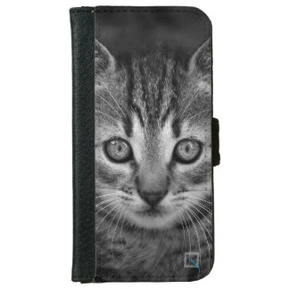 Cute black and white cat, iPhone 6/6s Wallet Case