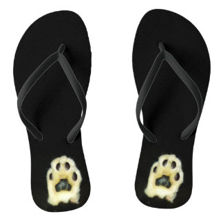 Cute Black and White Cat Paws Thongs
