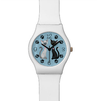 Cute Black and White Cats with Paw Prints on Blue Wrist Watches