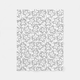 Cute Black and White Christmas Gingerbreads Fleece Blanket