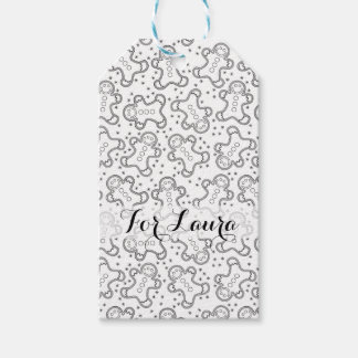 Cute Black and White Christmas Gingerbreads Gift Tags