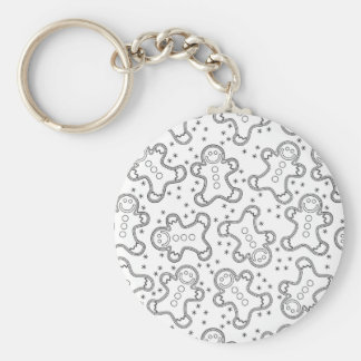 Cute Black and White Christmas Gingerbreads Key Ring