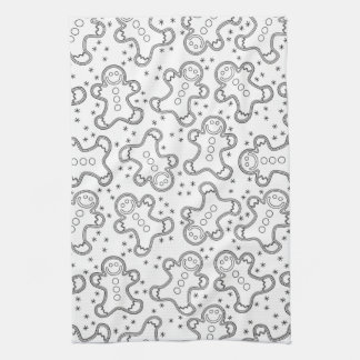 Cute Black and White Christmas Gingerbreads Tea Towel