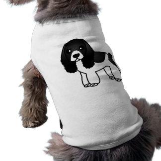 Cute Black and White Cocker Spaniel Cartoon Sleeveless Dog Shirt
