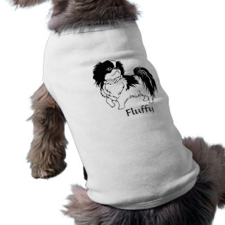 Cute Black and White Dog and Customizable Text Pet Shirt
