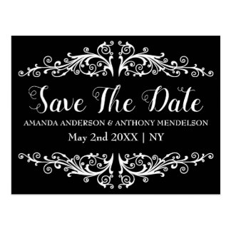 Cute black and white floral save the date postcard