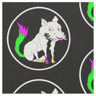 Cute Black and White Fox With a Colorful Tail Fabric