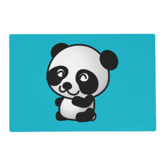 Cute black and white happy panda bear laminated placemat