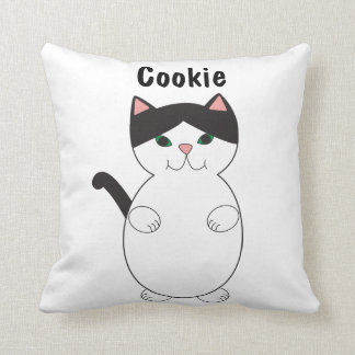 Cute Black and White Kitty Cat Personalize Cushion
