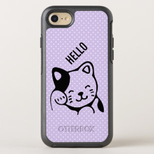 affaa504d Cute Black and White Kitty Cat Waving Hello OtterBox Symmetry iPhone 8/7  Case