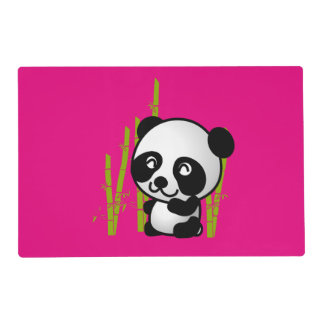 Cute black and white panda bear in a bamboo grove laminated placemat