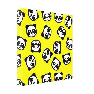 Cute Black and White Panda Cartoon Pattern Canvas Print