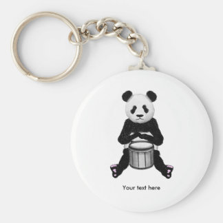 Cute BLack and White Panda Drummer Key Ring