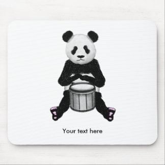 Cute BLack and White Panda Drummer Mouse Pad