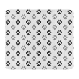 Cute Black And White Paw Prints Pattern Cutting Board